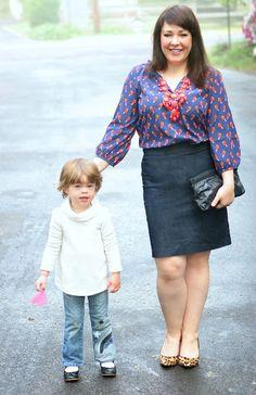 Old Navy bird print blouse, denim skirt from Halogen, leopard pumps, vintage clutch