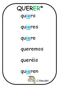 Spanish verbs - Present tense of QUERER = to want, to love