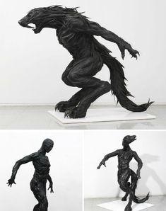 """""""Korean artist Yong Ho Ji has gone above and beyond all of these innovative re-uses for old tires with a sculptural series that binds strips of used tires together with synthetic resins. His complex works, depicting humans and animals, makes a statement about humanity's responsibility for nature."""""""