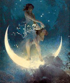 Edwin Howland Blashfield - Spring Scattering Stars offered by Robert Funk Fine Art on InCollect Goddess Art, Moon Goddess, Fantasy Kunst, Fantasy Art, Kunst Poster, Alphonse Mucha, Moon Art, Moon Child, Stars And Moon