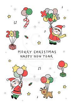 크리스마스, 축하카드 (인쇄매체), 크리스마스카드, 캐릭터, 산타클로스 (가상존재), 루돌프, 선물 (인조물건), 풍선 Merry Christmas And Happy New Year, Winter Christmas, Christmas Cards, Christmas Posters, Xmas, Cute Kawaii Drawings, Christmas Drawing, Typographic Poster, Nouvel An