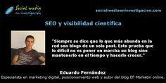 Charla con Eduardo Fernández sobre SEO y visibilidad científica. #SEO #PosicionamientoWeb