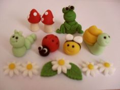Handmade edible garden bug ladybird, bee etc cake topper decorations