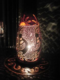 Handcrafted dancing Kokopelli gourd table lamp by tamiredding, $85.00
