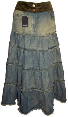 Long Denim Skirts | Long Gypsy Tiered Denim Skirt - Size 10-12-14-16 (4pc/2-0-1-1)