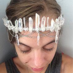 Angel aura quartz crystal crown, aura quartz headpiece, raw crystal beaded crown, beaded crystal headpieces, bridal crown, boho bride