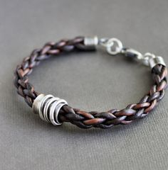 Mens Bracelet Braided Leather with Sterling by LynnToddDesigns