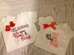 OU/OSU onesie $20 short sleeve $25 long sleeve Facebook.com/3littleangels.com