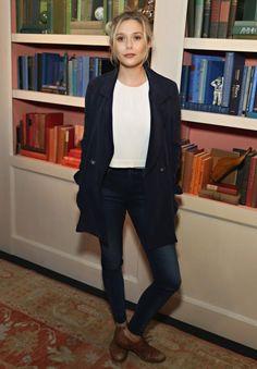 Look básico de Elizabeth Olsen.