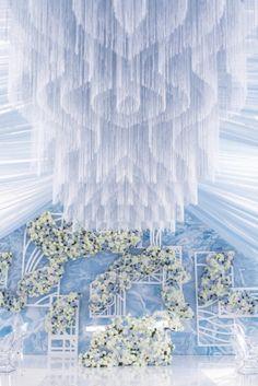 Оформление зала на свадьбу в голубом цвете