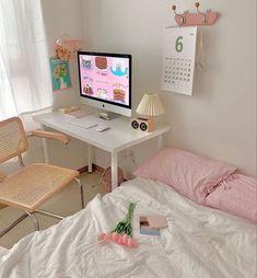Study Room Decor, Cute Room Decor, Pastel Room Decor, Pastel Bedroom, Room Design Bedroom, Room Ideas Bedroom, Bedroom Inspo, Korean Bedroom Ideas, Zen Bedroom Decor