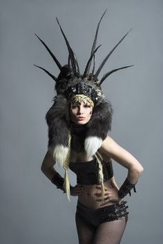 Make a headress out of fur and leather. (NO feathers).