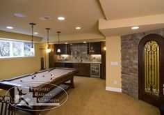 Cool And Stylist Basement Game Rooms Designs With Cream Pool Table Color Idea