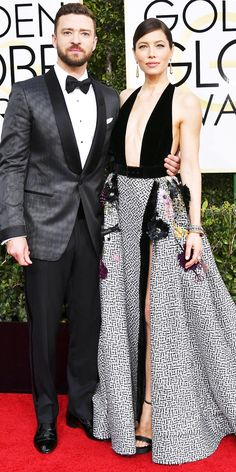 Golden Globes 2017: JUSTIN TIMBERLAKE AND JESSICA BIEL Justin Timerlake in Tom Ford. Jessica Biel in Elie Saab.
