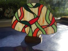 Colorful Ribbon Design Stained Glass Fan Lamp / by AcadianGlassArt