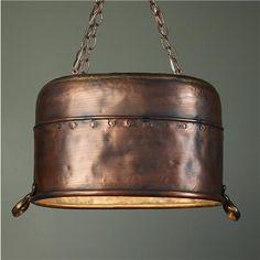 Recycled Copper Bucket Pendant Chandelier
