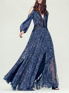 Blue Puff Sleeves Off-the-shoulder Maxi Dress – oshoplive