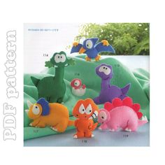 7 Dinosaurs Felt Plush Mascot Sewing Pattern PDF | CraftyLine e-pattern shop - love the teradactyl!