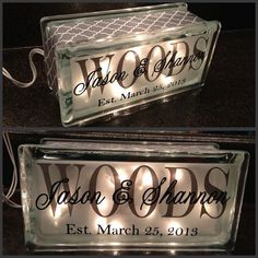 Glass block last name light established by JLHCreativeDesigns, $23.00