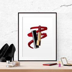 Chanel Lipstick Illustration Wall art by BeautyAndStyleDesign