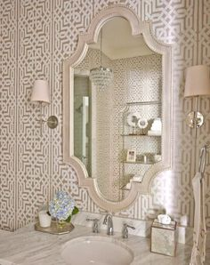 In Good Taste:Caroline Brackett - Design Chic Bad Inspiration, Bathroom Inspiration, Bathroom Ideas, Bathroom Renovations, Dream Bathrooms, Beautiful Bathrooms, Small Bathrooms, Bathroom Wallpaper Geometric, Powder Room Wallpaper