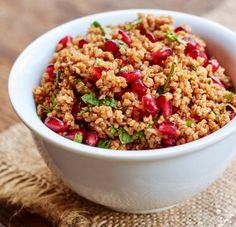 Colorful Bulgur Salad With Pomegranate Seeds & Mint: Turkish-style bulgur salad with pomegranate seeds and mint makes a great side dish for poultry.