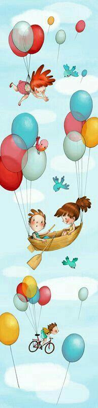 """""""No nosso lindo balão azul!"""". Dani Cabo"""