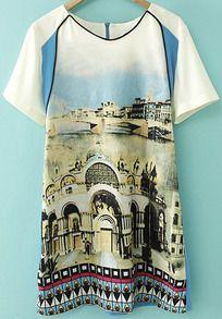 robe motif bâtiment -bleu