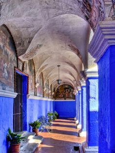 Graceful Archways of Monasterio Santa Catalina in the White City of Arequipa, Peru