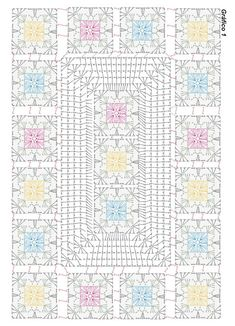 Crochet flower very easy tutorial – Artofit Beautiful granny square with p Crochet chart for two granny s This Pin was discovered by Dun Granny and other stitches Crochet Mat, Manta Crochet, Crochet Blocks, Crochet Diagram, Crochet Squares, Crochet Home, Crochet Granny, Filet Crochet, Hand Embroidery