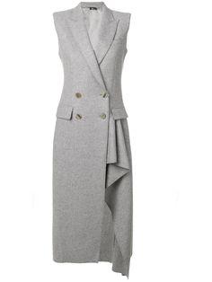 Alexander Mcqueen Asymmetric Double Breasted Coat In Light Grey Alexander Mcqueen, Ärmelloser Mantel, Long Grey Coat, Gray Coat, Asymmetrical Coat, Sleeveless Coat, Cashmere Coat, Double Breasted Coat, Coat Dress
