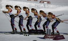 """Sophie Caldwell of the U.S. prepares before the start of the women""""s cross-country 10km classic event at the 2014 Sochi Winter Olympics Febr..."""