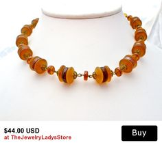 Amber Glass Bead Necklace Vintage West Germany