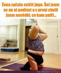 Žena začala cvičit jógu Jokes, One Piece, Humor, Swimwear, Pictures, Bathing Suits, Photos, Swimsuits, Husky Jokes