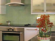 green glass backsplashes for kitchens | Green Glass Subway Tiles Kitchen