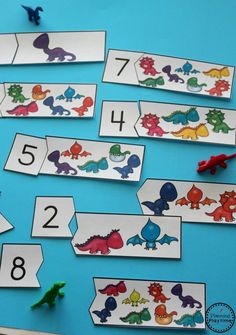 Preschool Theme Dinosaur Counting Puzzles for a preschool dinosaur theme.Dinosaur Counting Puzzles for a preschool dinosaur theme. Dinosaur Theme Preschool, Dinosaur Classroom, Preschool Craft Activities, Preschool Printables, Dinosaur Dinosaur, Teach Preschool, Vocabulary Activities, Dinosaur Art Projects, Dinosaurs Eyfs