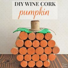 DIY Wine Cork Pumpkin Wine Cork Table, Wine Cork Art, Wine Cork Crafts, Wine Bottle Crafts, Wine Cork Wreath, Wine Cork Ornaments, Wine Bottle Incense Burner, Fall Crafts, Diy Crafts