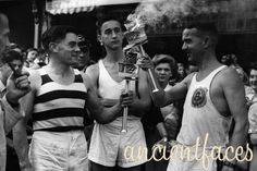 London has hosted three summer Olympic games - 1908, 1948 and 2012. This photo of the 1948 Olympics Torch Relay includes a detailed description of the route from Greece, through the Adriatic sea, Italy, Switzerland, France all the way to England.  More details: http://www.ancientfaces.com/research/photo/1250710/london-summer-olympics-torch-relay-family-photo