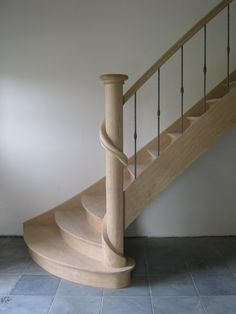Beautiful post and curves on this simple, elegant staircase! Wrought Iron Handrail, Stair Handrail, Staircase Railings, Curved Staircase, Wood Stairs, House Stairs, Staircase Design, Stairways, Home Building Tips