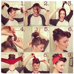 Super quick and cute up do for all you pinup and vintage lovers! #pincurls #updo