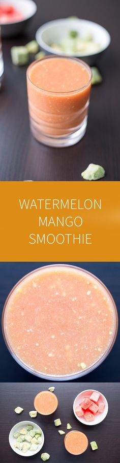 A light watermelon mango smoothie that is perfect for warm summer days. This smoothie uses natural fruit juices to keep it light. Fruit Smoothies, Good Smoothies, Vegan Smoothies, Juice Smoothie, Smoothie Drinks, Smoothie Detox, Detox Drinks, Best Smoothie Recipes, Fruit Recipes