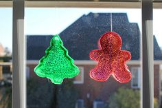 glue, food coloring, and glitter - squirt into a cookie cutter and let dry for a day or two.