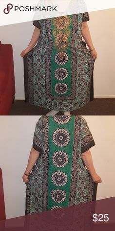 African print long dress NEW WITH TAG Teal green with black Print Dresses Maxi