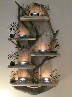 Picture 3 of 12 Driftwood Shelf, Driftwood Crafts, Pallet Deck Furniture, Rustic Furniture, Furniture Design, Fairy Tree, Branch Decor, Rustic Shabby Chic, Beach Crafts