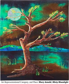 Misty Moonlight by Mary Arnold.  2nd place, Art Representational Category.  2014 Northwest Quilting Expo.