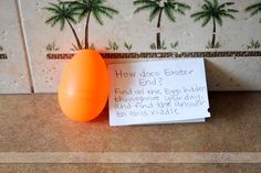 Fun Easter egg hunt idea - the kids work together to solve the riddle instead of killing each other trying to get the most eggs! Put candy/gifts inside eggs.
