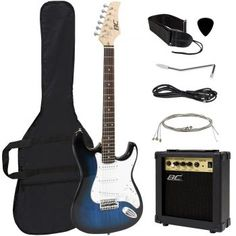 Buy Full Size Blue Electric Guitar with Amp, Case and Accessories Pack Beginner Starter Package securely online today at a great price. Full Size Blue Electric Guitar with Amp, . Beginner Electric Guitar, Electric Guitar And Amp, Cool Electric Guitars, Guitar Amp, Cool Guitar, Guitar Songs, Electric Guitar Case, Jazz Guitar, Ukulele