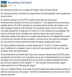 WEBSEGUR.com: NO HABRÁ ZONA AZUL EN EL PASEO DE SEGUR ESTA SEMAN...