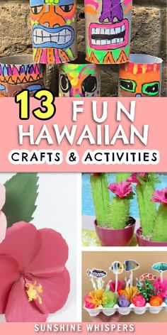With these super fun Hawaiian Summer Crafts and Activities for Kids from Sunshine Whispers, you'll be sure to catch the Aloha spirit this summer! Whether you're planning your own festive luau or tropical-themed graduation party, summer camp, or birthday party, these Hawaii crafts are perfect! These Hawaiian crafts are some of the best indoor summer activities to do with kids! Summer Activities For Kids, Craft Activities, Preschool Crafts, Crafts For Kids To Make, Kids Crafts, Art For Kids, Summer Crafts, Fall Crafts, Christmas Crafts