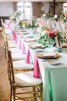 aqua + pink tables | Aaron & Jillian Photography #wedding